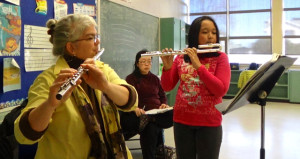 Working with a young flute student in the ESFRS program